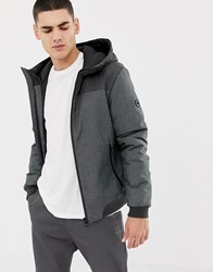 Esprit Blouson Jacket With Hood In Grey Colour Block Black