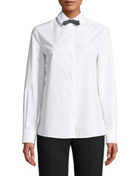 Escada Long Sleeve Button Front Cotton Shirt W Removable Bow Tie White