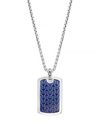 Men's Classic Chain Silver Dog Tag Necklace Blue John Hardy