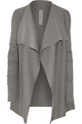 Rick Owens Draped Cotton Cardigan Light Gray