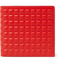 Balenciaga Studded Leather Billfold Wallet Red