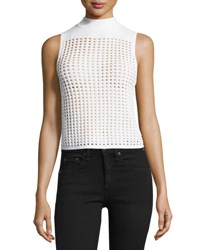 Rag And Bone Ingrid Sleeveless Eyelet Mesh Top White