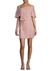 Collective Concepts Striped Tie Waist Mini Dress Coral