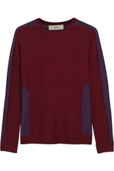 Pringle Color Block Cashmere And Silk Blend Sweater Red