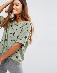 Sundry Short Short Sleeve Sweat Top Olive Green
