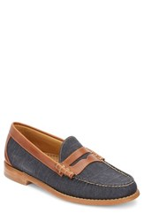 G.H. Bass And Co. 'Larson Weejuns' Penny Loafer Navy Tan Canvas Leather