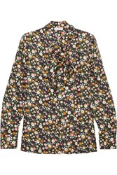 Tory Burch Azra Pussy Bow Floral Print Silk Twill Blouse Black