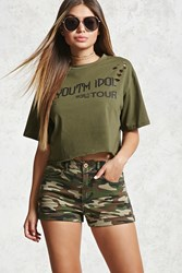 Forever 21 High Waist Camo Denim Shorts Olive Multi