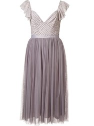 Needle And Thread Metallic Embroidery Dress Pink Purple