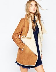 Pull And Bear Pullandbear Faux Fur Waterfall Jacket Red