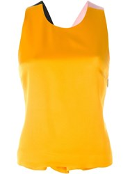 Msgm Cross Back Tank Top Yellow And Orange
