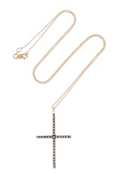Ileana Makri Cross 18 Karat Rose Gold Diamond Necklace