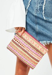 Missguided Pink Multi Embroidered Zip Clutch