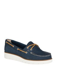 Sperry Azur Wedge Heel Boat Shoes Navy Blue