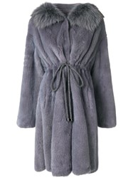 Liska Drawstring Coat Blue