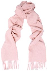Coach Fringed Jacquard Knit Wool And Cashmere Blend Scarf Pink