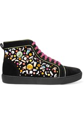 Rene Caovilla Embellished Suede Sneakers Black