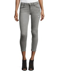 Current Elliott The Stiletto Cropped Skinny Jeans Sellwood Destroy Light Grey