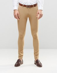 Asos Super Skinny Fit Suit Trousers In Camel Camel Beige