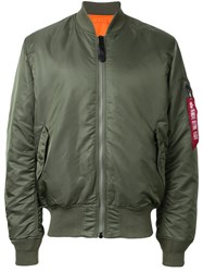 Alpha Industries Ruched Sleeve Bomber Jacket Green