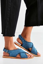 Urban Outfitters Frayed Denim Cross Strap Sandal Blue