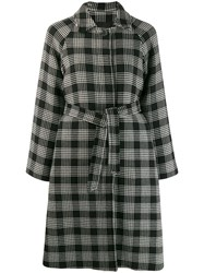 Red Valentino Belted Check Coat Black