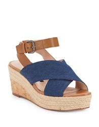French Connection Liora Open Toe Denim Wedges Light Indigo
