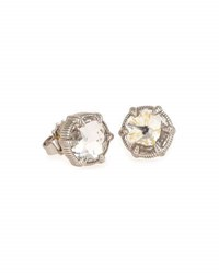 Judith Ripka Eclipse Stud Earrings In Rock Crystal No Color