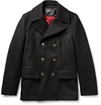 Dolce And Gabbana Slim Fit Wool And Cotton Blend Peacoat Black