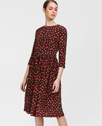 Aspesi Printed Silk Dress Bordeaux