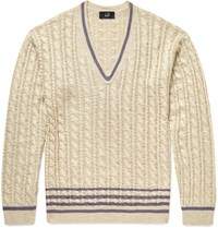 Dunhill Slim Fit Cable Knit Silk Sweater Beige