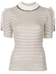 Sonia Rykiel Ruffle Striped Short Sleeve Sweater Women Cotton Polyester Viscose Xs White