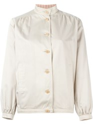Celine Vintage Mandarin Collar Jacket Nude And Neutrals