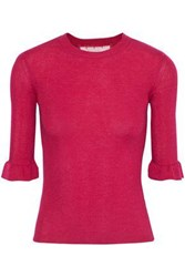Red Valentino Redvalentino Woman Fluted Point D'esprit Trimmed Ribbed Cashmere And Silk Blend Top Fuchsia