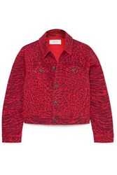 Current Elliott The Baby Trucker Leopard Print Denim Jacket Red