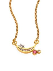 Shana Gulati Kolar Diamond And Pink Tourmaline Pendant Necklace Gold Pink Tourmaline