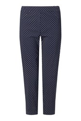 James Lakeland Cropped Patterened Trousers Navy
