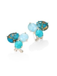 Ippolita 925 Rock Candy Semi Precious Multi Stone Cluster Stud Earrings Turquoise