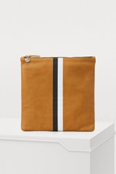 Clare V. Leather Striped Pouch