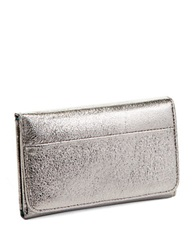Hobo Leather Snap Button Wallet Platinum