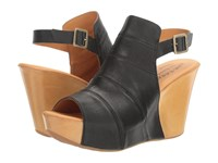 Kork Ease Bergen Black Natural Full Grain Combo Women's Wedge Shoes