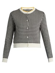 Miu Miu Button Down Gingham Intarsia Cotton Cardigan Black White