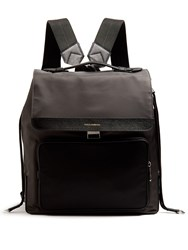 Dolce And Gabbana Leather Trimmed Backpack Grey Multi