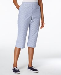Alfred Dunner Garden Party Collection Seersucker Striped Pants Blue