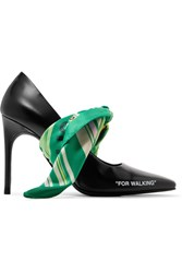 Off White For Walking Embellished Printed Leather Pumps Black