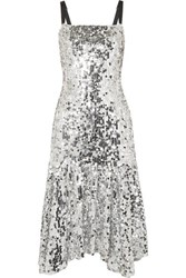 Dolce And Gabbana Paillette Embellished Tulle Midi Dress Silver