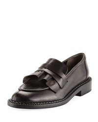 Robert Clergerie Joux Ruffled Leather Penny Loafer Black