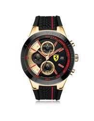 Ferrari Watches Redrev Evo Gold Tone And Red Stainless Steel Case And Silicone Strap Chrono Watch