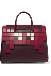 Anya Hindmarch Ephson Suede Trimmed Leather Tote Burgundy