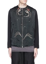 By Walid 'Liam' Dragon Embroidered Silk Jacket Black
